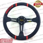 "MOMO(r) 14"" Deep Dish Leather Steering Wheel Black/Red"