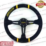 MOMO(r) 14″ Deep Dish Suede Steering Wheel Black/Yellow