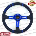 "MOMO(r) 14"" Deep Dish Leather Steering Wheel Blue"
