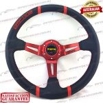 "MOMO(r) 14"" Deep Dish Leather Steering Wheel Red"