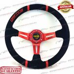MOMO(r) 14″ Deep Dish Suede Steering Wheel Red